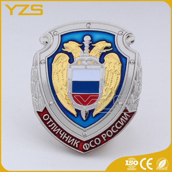 low MOQ high quality shrieff screw back badge