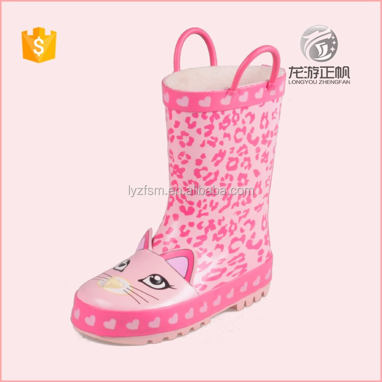 Good looking 100% rubber leopard printing rain boots for children