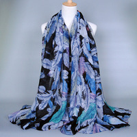 china factory wholesale fashion feather printed cotton rayon pashmina shawl and scarf, hijab scarf for ladies