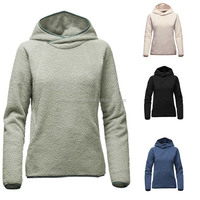 Custom Fashion Apparel Relaxed Fit Winter Warm Clothing Bound Hood Kangaroo Hand Pocket High-pile Woman Sherpa Fleece Pullover