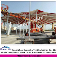Low cost tensile fabric membrane structure for playground