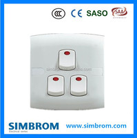 SASO standard electronic do on off 3 gang 1 way wall switch with light