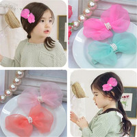 New style cute organza bow fancy hair clip bow clip colorful kids hair accessories wholesale flower beaded AHC1006-1