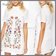 Popular hot sale simple Embroidered modern Ladies dress stitching designs