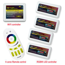 Remote+WiFi +4x RGBW LED Controller group control 2.4G 4-Zone Wireless RF Touch Screen remote For RGBW 5050 3528 Led Strip Light