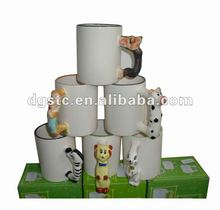 Coated animal ceramic cups with lovely animals design
