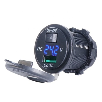 fast charger qc3.0 with control switch ON OFF analog dc voltmeter multifunctional outlet usb socket