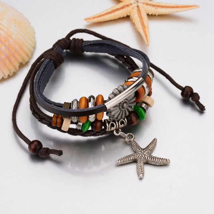 Wish Hot Selling Vintage Mens Wholesale Braided Starfish Bracelet Accessories