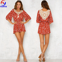 2018 New fashion summer printed romper casual women half sleeve red ruffle floral playsuit