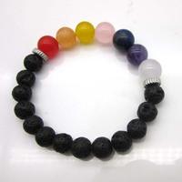 5% discont!!! High quality7 Chakra Healing Balance Bracelet hand hamsa lava stone chakra bracelet