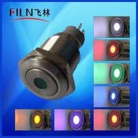 FLM16SS-ZF11-D 16mm Stainless steel Latching 12v yellow dot led no contact push switch button