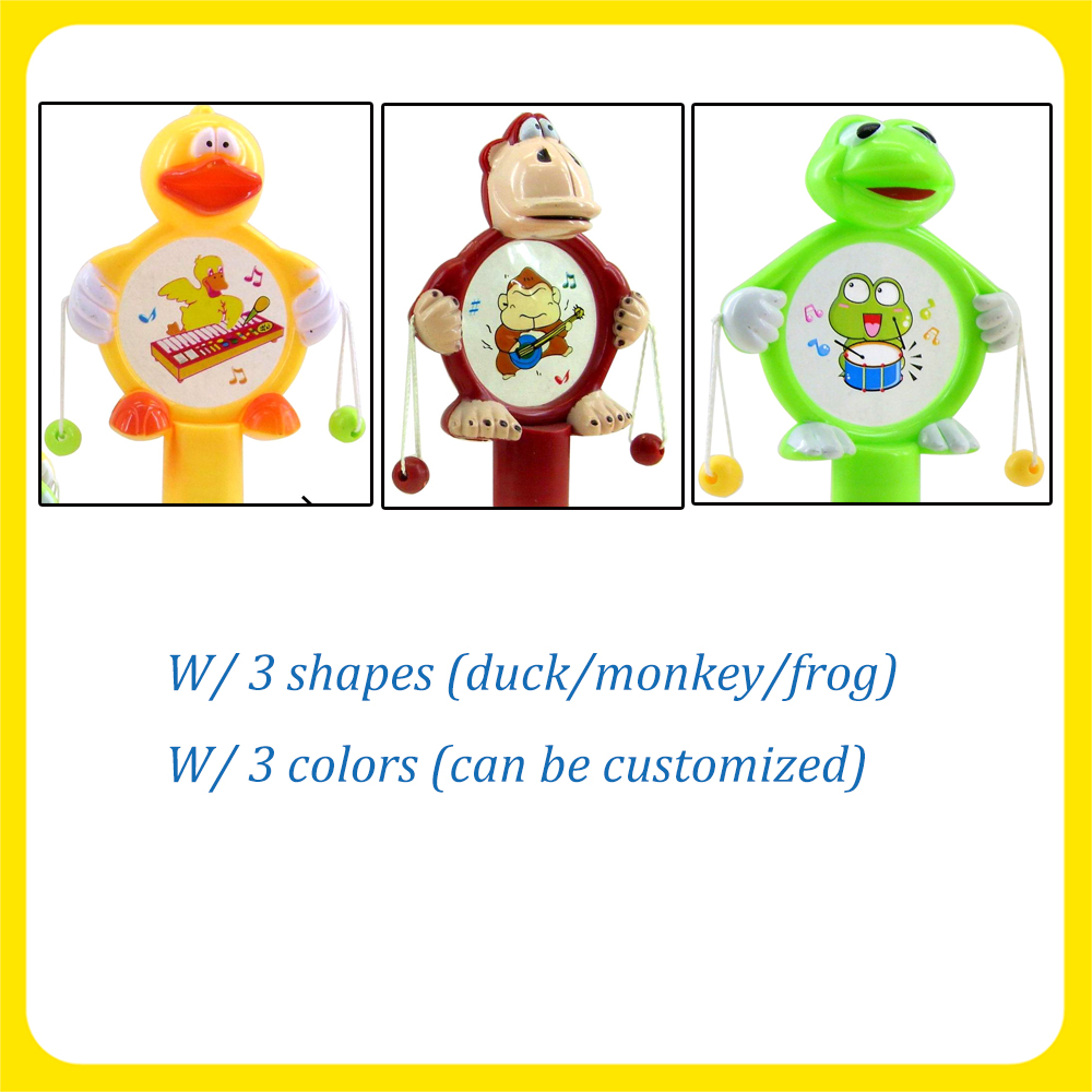 Plastic Frog/Penguin/Monkey Twister Hand Drum Toy Candy