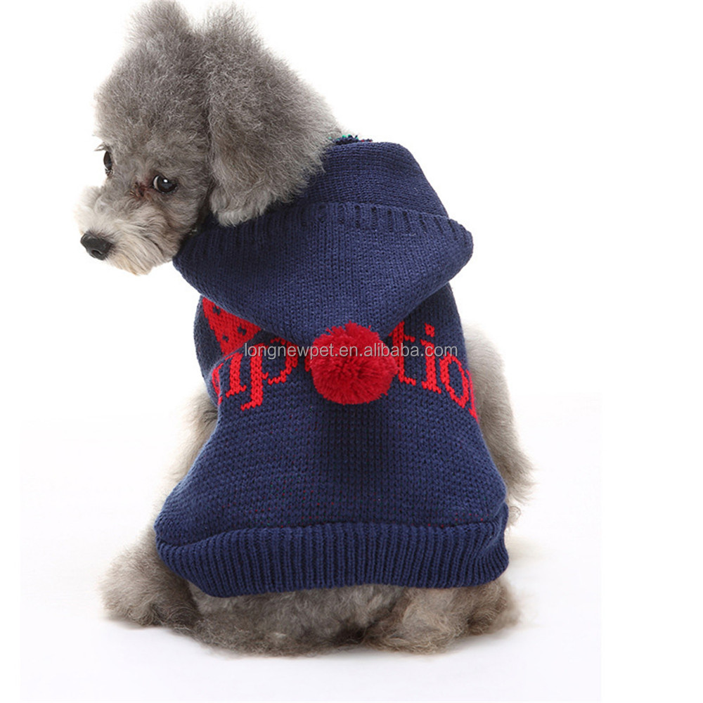 Blue Dog Sweater Clothes Puppy Knitwear Hoodies Pet Winter Clothing