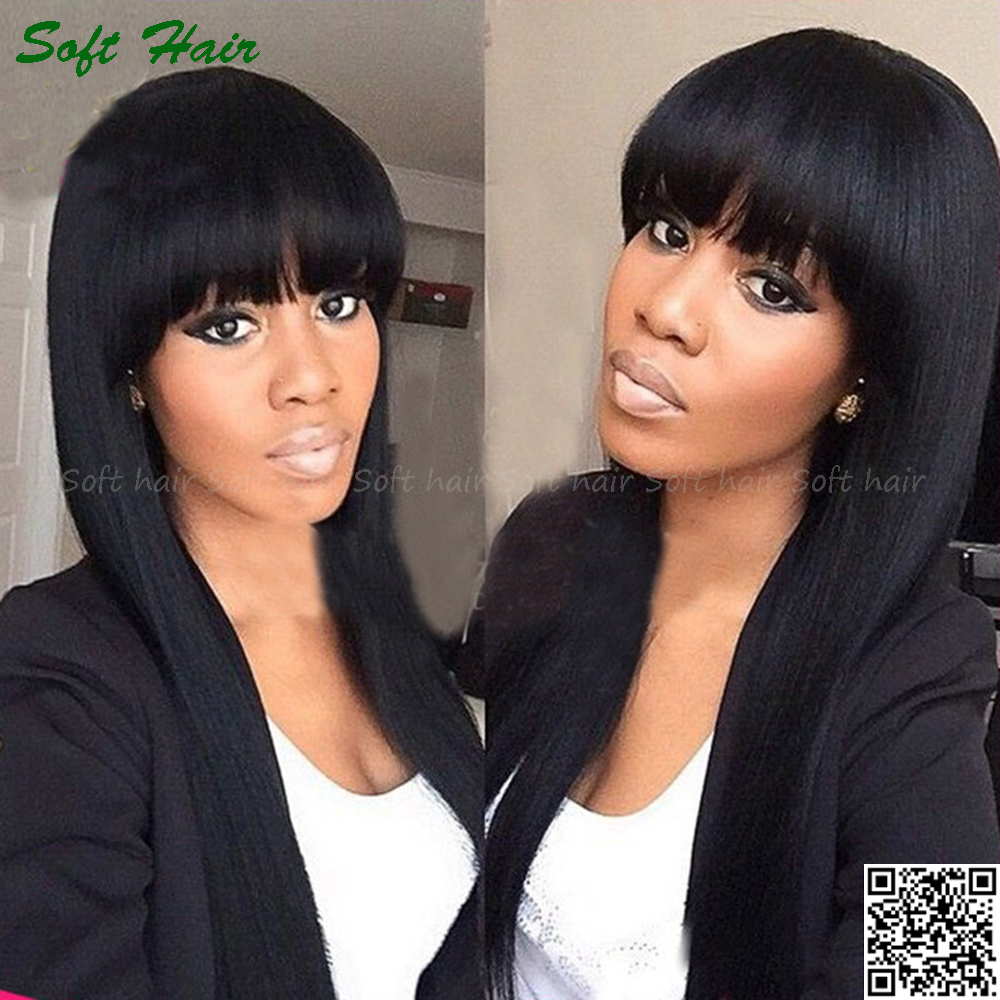 Full Lace Wig European Human Hair 8 Inch Silky Straight Hair Wig