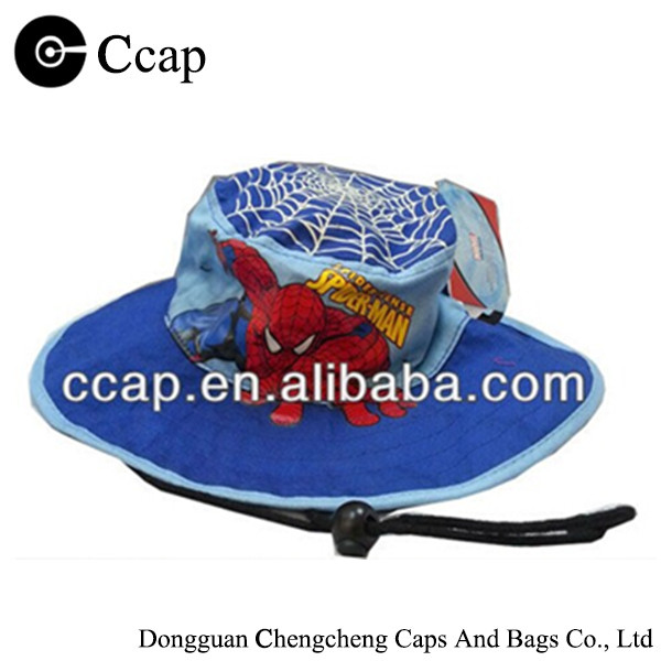 Custom kids spider-man printed adjustable wide brim bucket hat