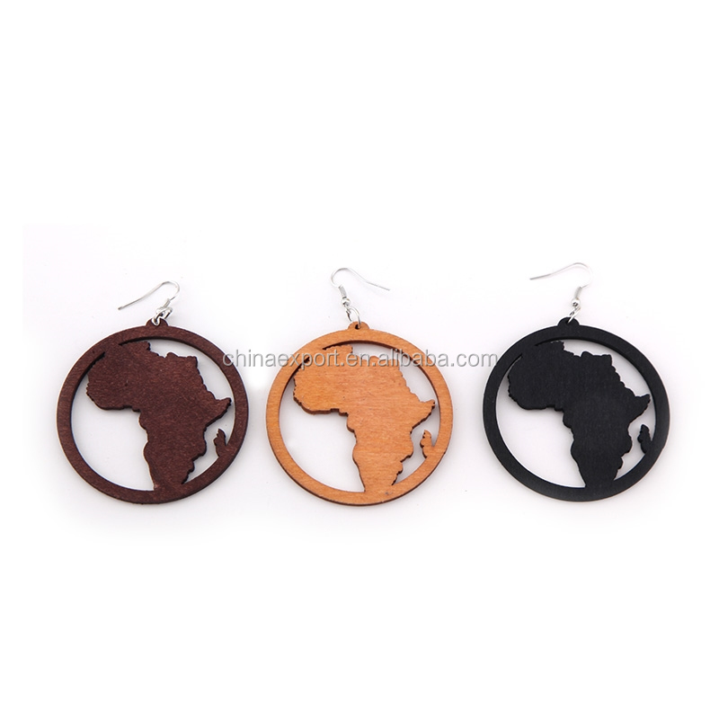 New product women round life of tree wood earrings WJ004