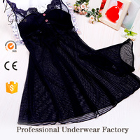 guangzhou factory professional custom comfortable mature woman sexy sleepwear lady transparent nightwear