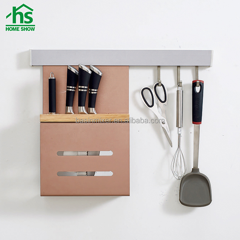 hanging wall aluminium storage rack kitchen knife rack with hooks