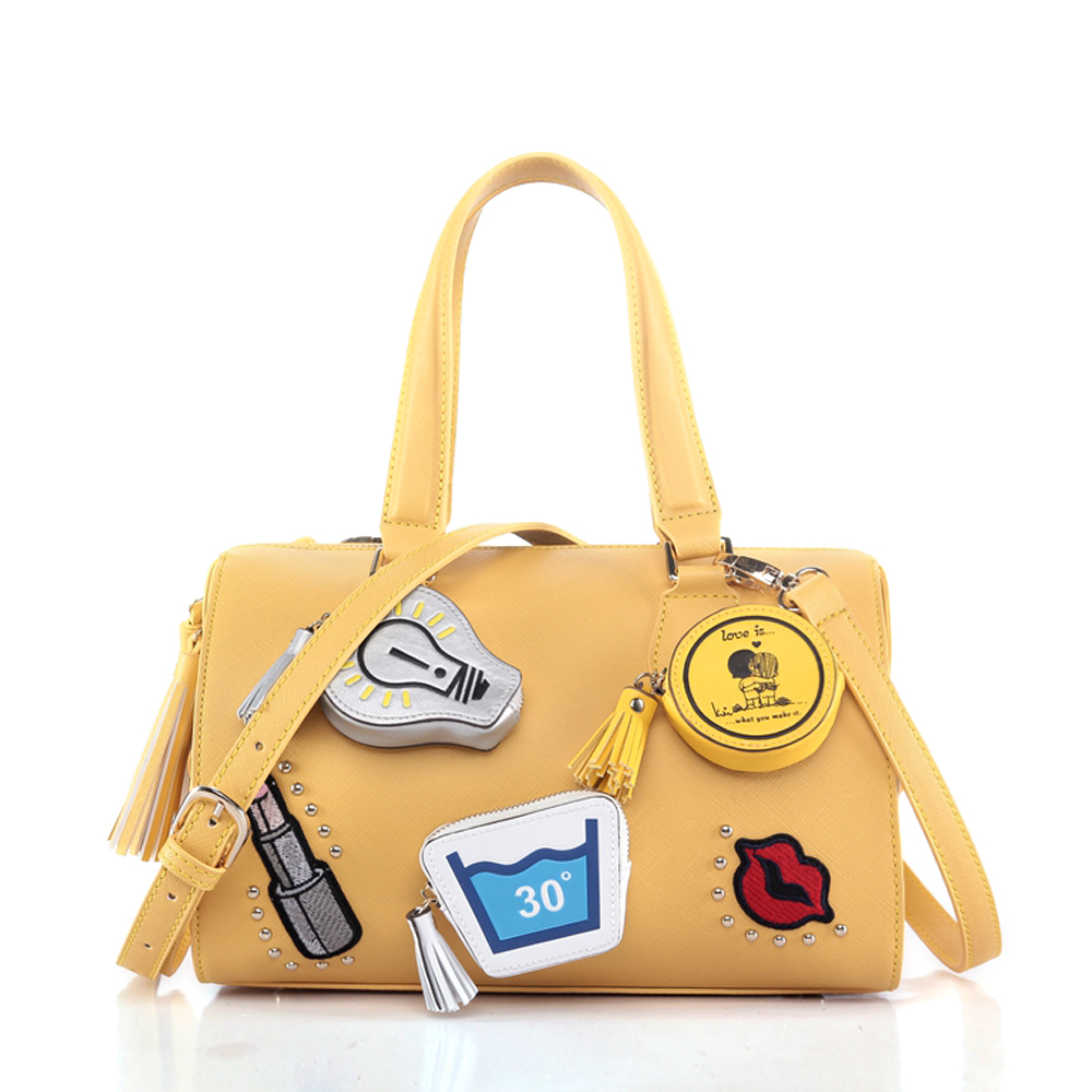 newest design yellow cute ladies handbag sets women fancy shape hand bags