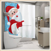 Christmas design digital printed polyester bath curtain fabrics