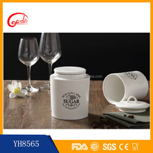 White ceramic tea coffee sugar cylindrical container