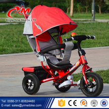 Xingtai Yimei new model baby tricycle factory / buy best kids tricycle China / two seats children metal frame tricycle for twins