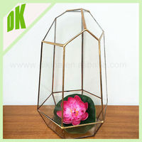 Wholesale chinese wall mounted peacock glass bronze candle holder