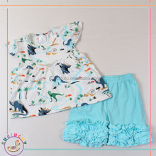knit cotton casual kids lovely dinosaur aqua ruffle icing shorts toddlers summer teen girl clothing set