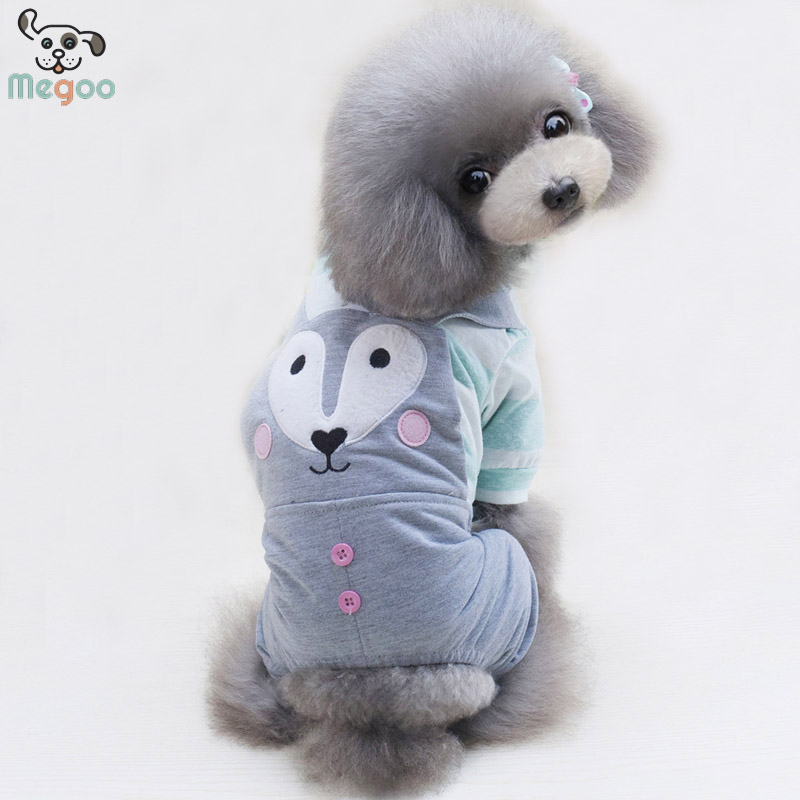 Cartoon Fox Pet Dog Jumpsuit Cotton Stripe Puppy Clothing