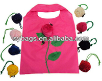 Foldable nylon cute shopping bags with flower