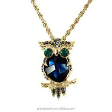 Best Selling Vintage Blue Crystal Owl Pendant Necklace