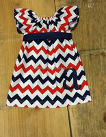 Baby girls 4th of July hand smocked bishop dress