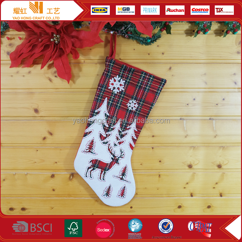 2017 Home decoration custom Christmas stockings manufacturer