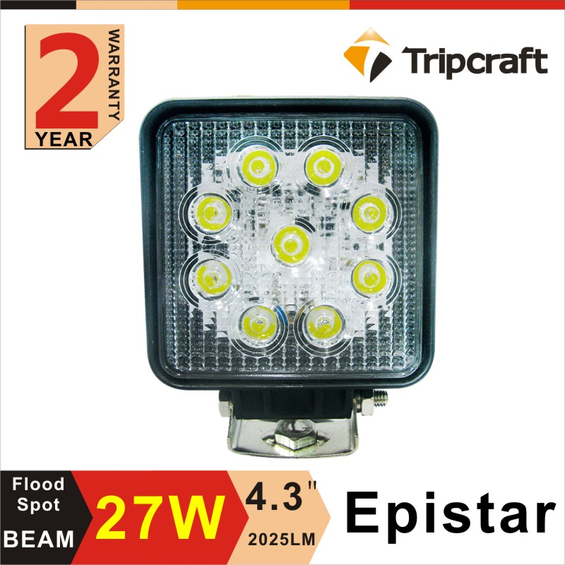 Guangzhou factory direct 27w led off road light 4 inch square led work light with ce rohs ip67