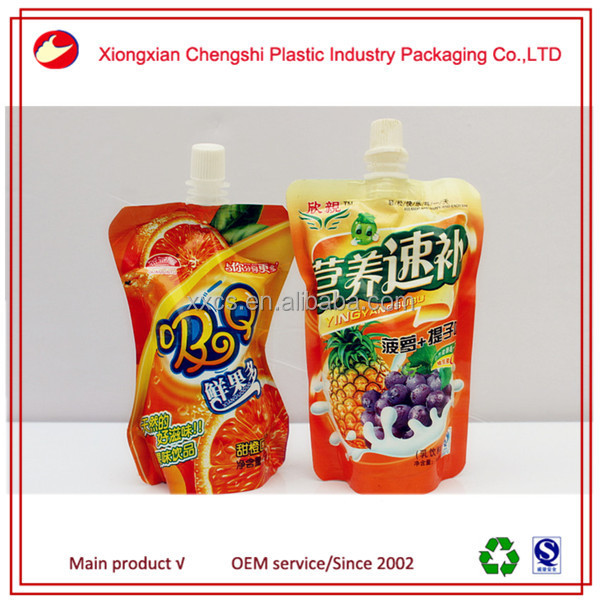 stand up plastic wine bag with spout packaging