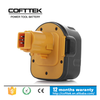 Replacement power tool battery for NI-CD NI-MH Dewalt 12V DE9075, DW9071, DW9072 Cordless Drill Battery