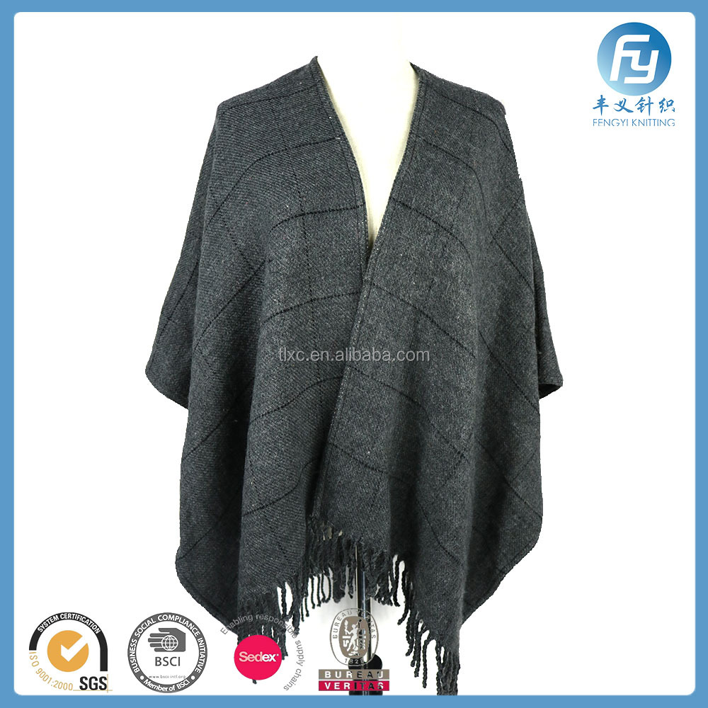 factory hot sale wool material double sided woven poncho winter shawl