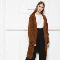 LOW MOQ 2016 new product long cardigan cable knitted hand made heavy women sweater