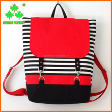 new design red canvas black stripe backpack diaper laptop bag