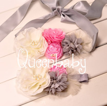 QueenBaby 2pcs Set Baby Girl Sash and Matching Headband Photography Props