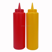 JK16006EA 2-pack 14-oz/400ml Plastic Squeeze Ketchup Mustard Dispensing Bottle with Tip Cap