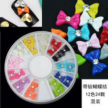 12 color nail art bows tie sticker diy 3d nails manicure bow for nail decoration