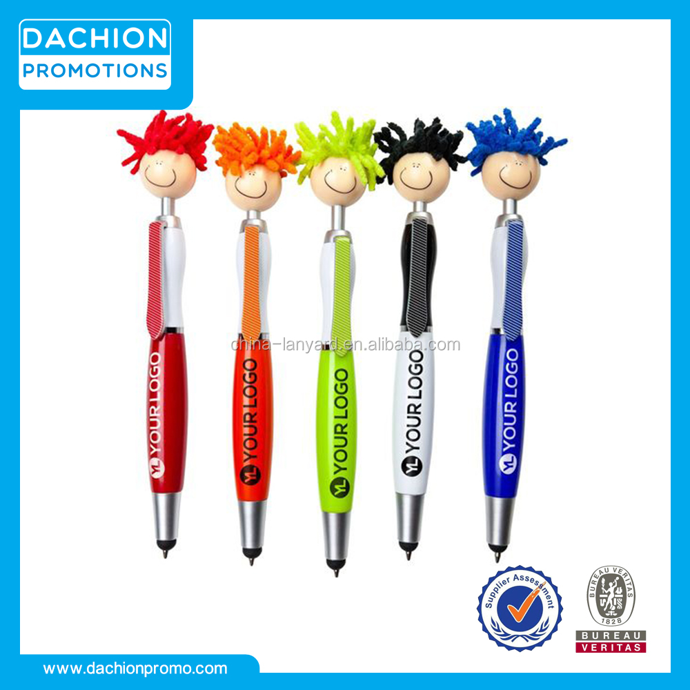 Promotional Mop Topper Screen Cleaner with Stylus Pen/engraved pens/pen engraving