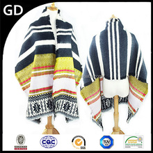 GDK0090 Fashionable indian women shawls wholesale jacquard striped wide winter scarf knitted