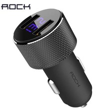 ROCK Sitor Car Charger with LCD Digital Display Universal Dual USB 3.4A Car Charger for smart mobile phones