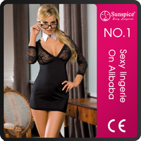 Sunspice best price top quality V neck collar and long sleeves sexy teachers uniform in school
