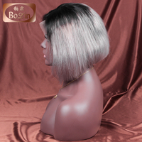 Accept paypal 7a grade Peruvian hair raw unprocessed virgin human hair short bob lace front wig ombre color wig 1b grey