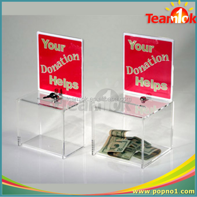 Acrylic donation box/PMMA collection box/Plexiglass ballot box
