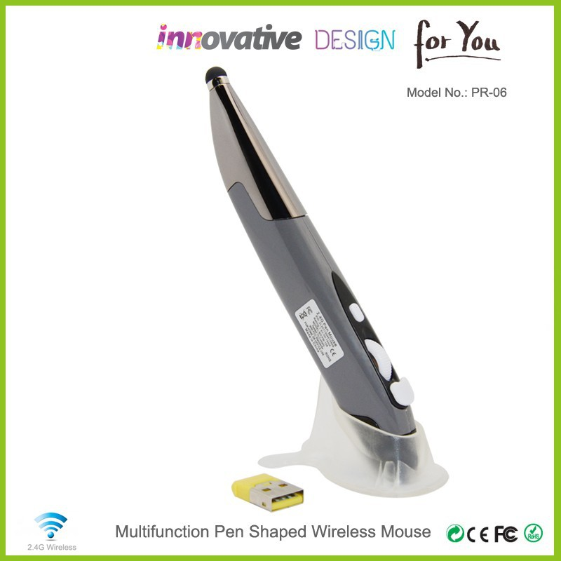 Fashionable 2.4g Wireless Drivers USB Mini Optical Digital Pen Mouse as business gift set