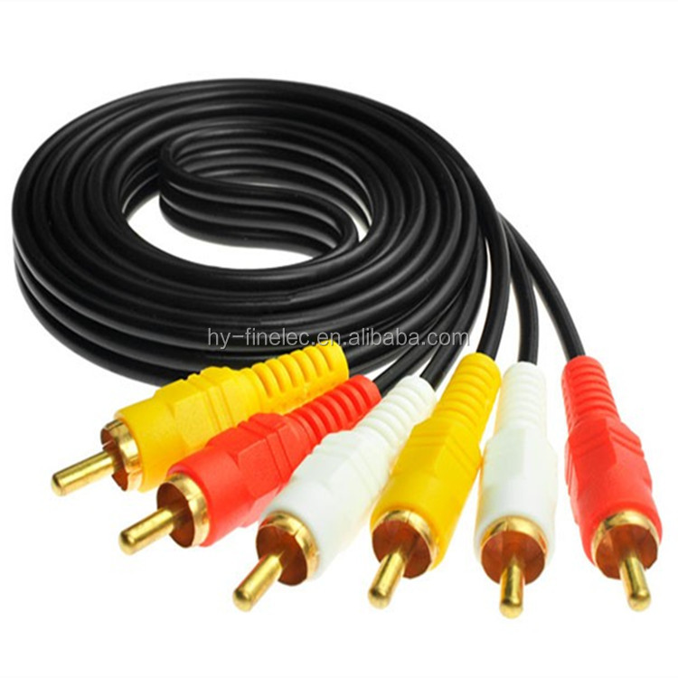 High quality 3 RCA to 3 RCA Male to Male Cable DVD Audio Video TV AV Cable